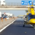 Intervento dei mezzi di soccorso aerei a seguito di un incidente sulla SS Pontina