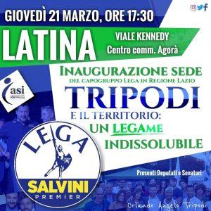 Locandina dell'inaugurazione della sede del consigliere regionale Angelo Tripodi (Lega)