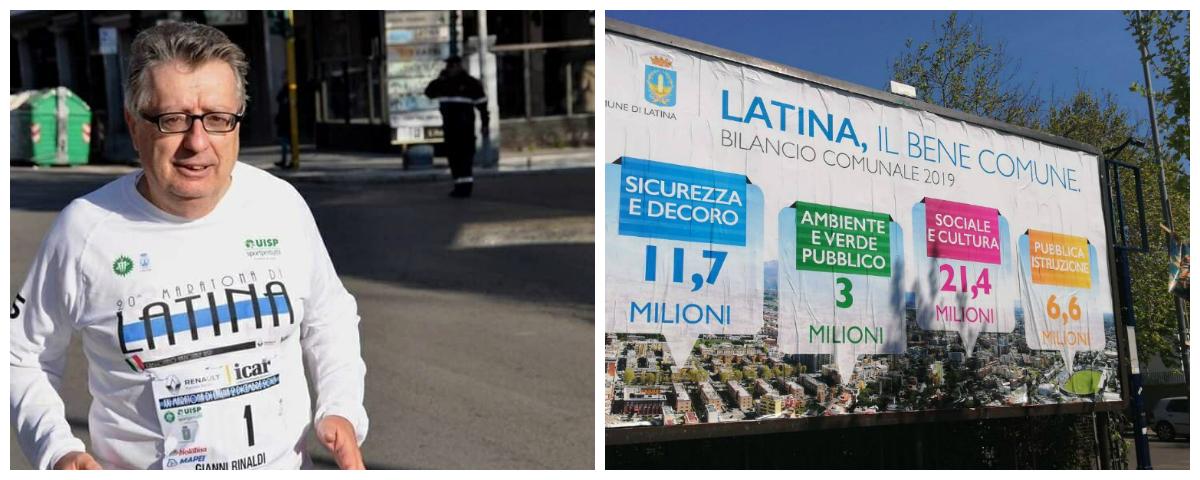 Il consigliere comunale di LBC Gianni Rinaldi e i manifesti del Comune di Latina