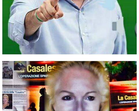 Matteo Salvini con Radio Padania Libera e (sotto) Antonella D'Agostino con lo sfondo della locandina del suo film/libro