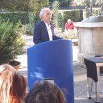 Il sindaco di Latina Damiano Coletta durante il suo comizio ai Giardini del Comune