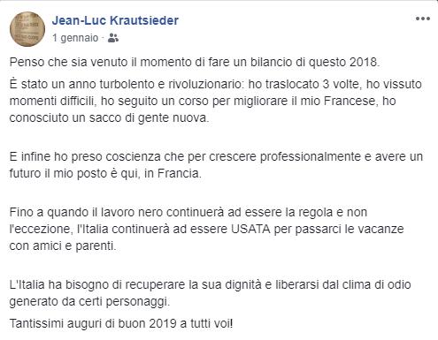 Post Facebook del 1° gennaio 2019 di Jean-Luc Krautsieder