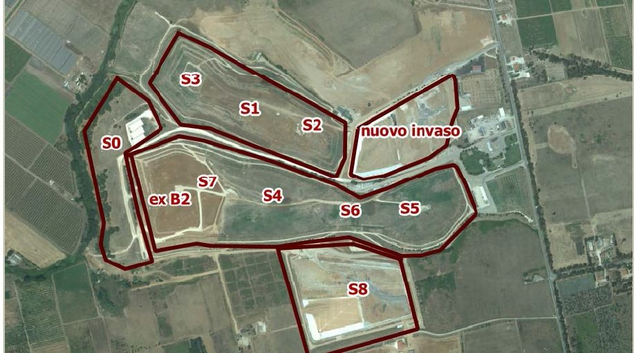 Mappa degli invasi della discarica di Borgo Montello a Latina