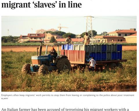 The Times - agricoltore schiavista