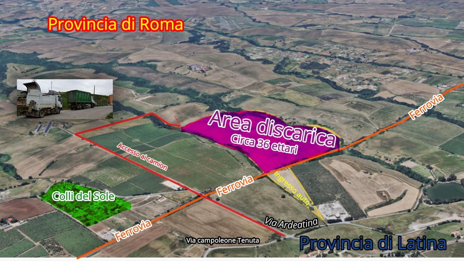 L'area della discarica a Casalazzara, Aprilia