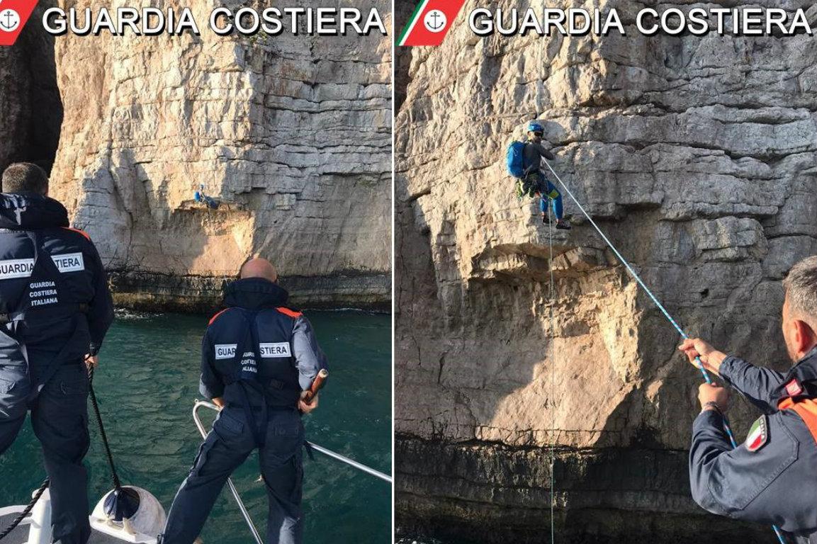 Due rocciatori rimasti bloccati sulla parete rocciosa nei pressi della Grotta del Turco di Monte Orlando di Gaeta