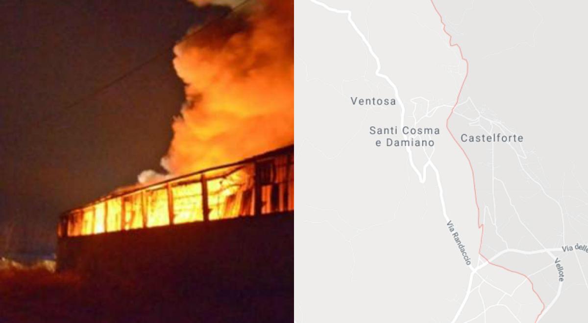 santi cosma e damiano: incendio deposito autobus società pontina trasporti