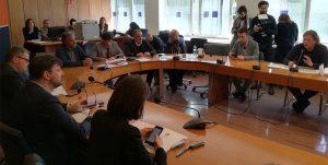 Un'immagine della commissione Urbanistica, Politiche abitative, Rifiuti del Consiglio regionale del Lazio, presieduta da Marco Cacciatore (M5s)