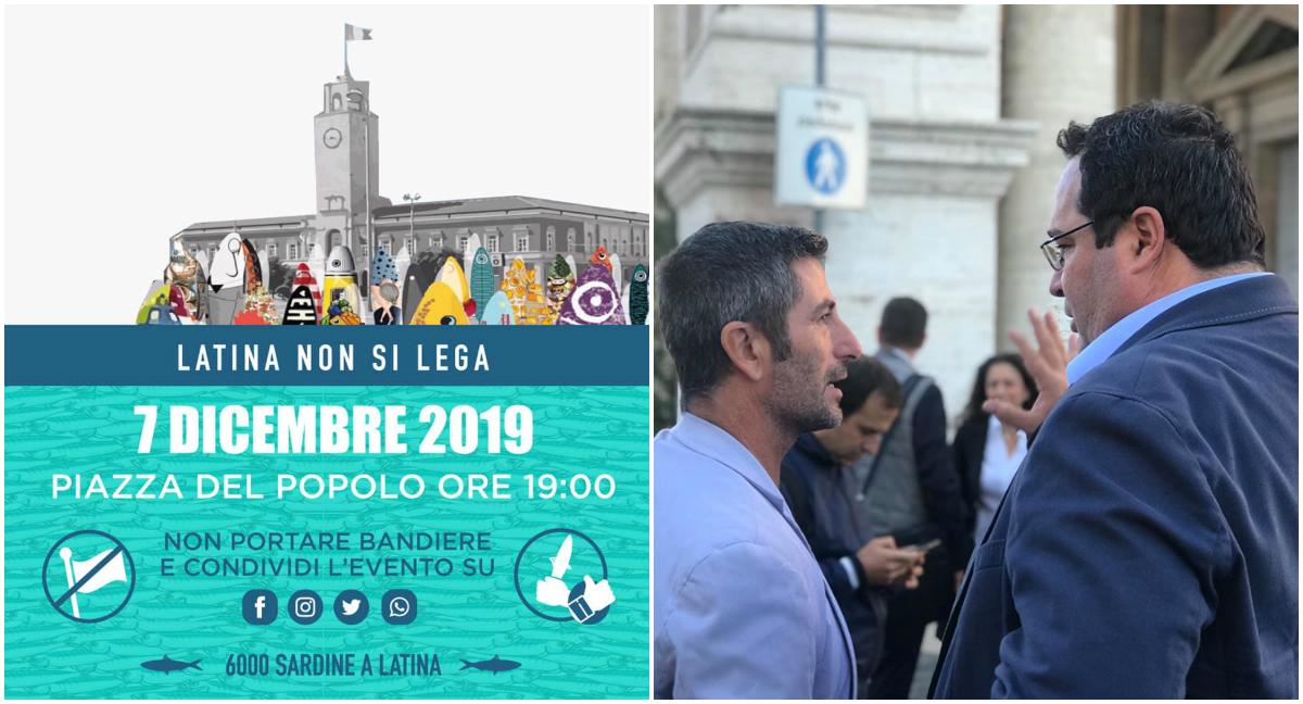 L'evento latinense delle Sardine e (di spalle) il consigliere regionale Angelo Tripodi con l'onorevole Claudio Durigon