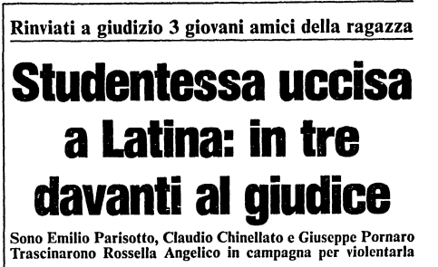 Titolo di giornale del'omicidio Rossella ANgelico  a Latina
