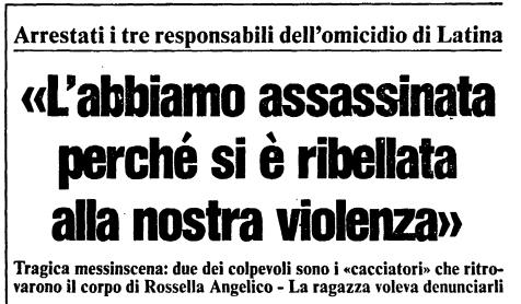 titolo di giornale dell'epoca dell'omicidio di Rossella Angelico