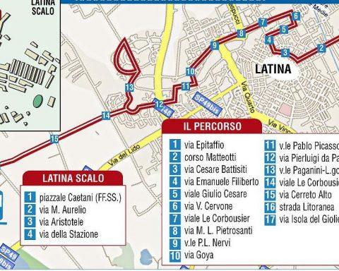 La mappa di quella che avrebbe dovuto essere la metropolitana leggera a Latina