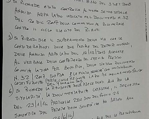 Documento di Libralato presentato alla conferenza dei servizi per la discarica di Borgo Montello del 5 febbraio 2020