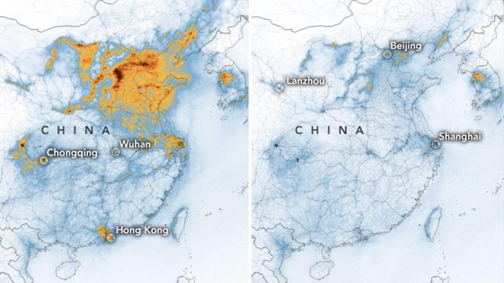 Un'immagine diffusa dalla Nasa che mostra la diminuzione dell'inquinamento atmosferico a seguito dell'epidemia di Coronavirus, circostanza che ha bloccato tutte le attività antropiche che causano smog