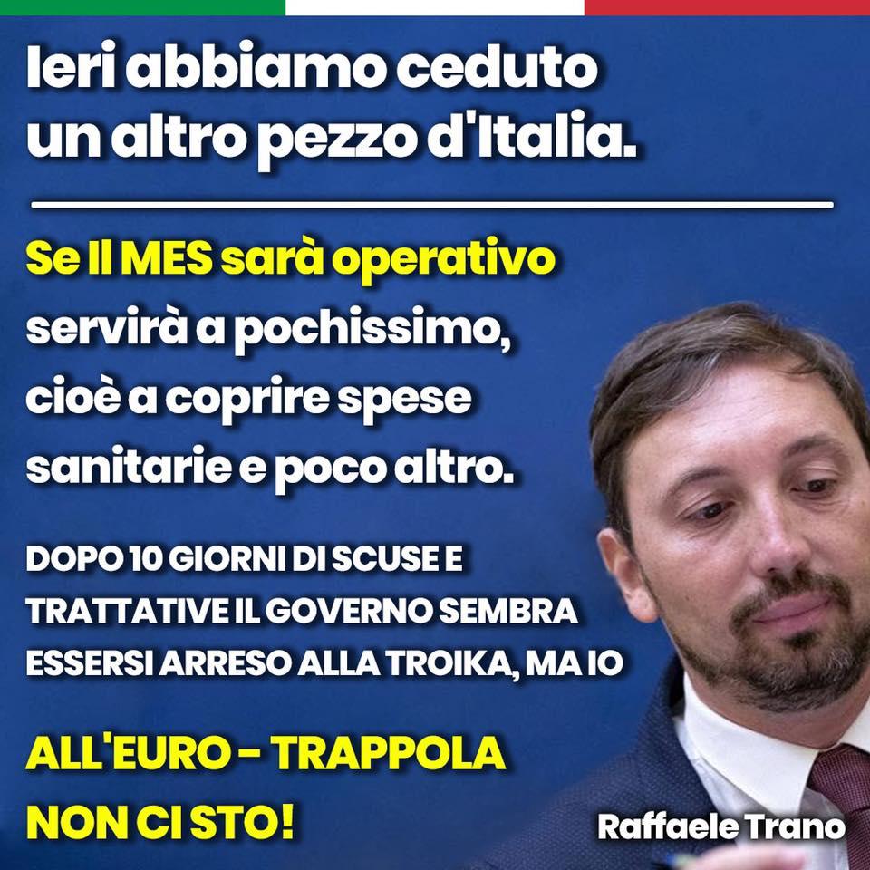 """Dopo un paio di ore di critiche e insulti ricevuti - molti gli rinfacciavano il suo trasformismo - l'onorevole Trano ha corretto il post aggiungendo un """"se"""" e un """"sembra"""". In sostanza se prima il Governo aveva svenduto l'Italia all'Europa tramite il Mes, col secondo post la certezza è diventata un'ipotesi"""