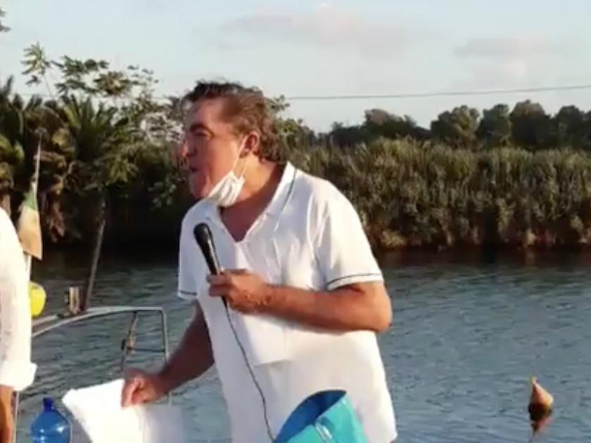 L'ex Assessore all'Ambiente del Comune di Latina Roberto Lessio durante la manifestazione a Rio Martino