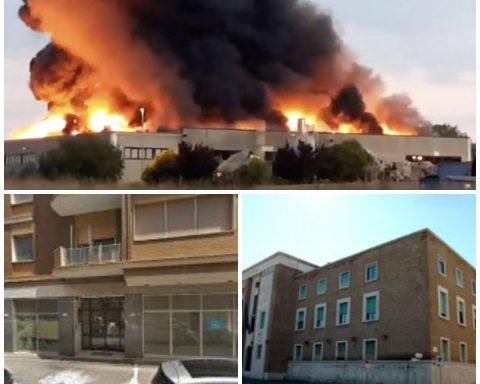 Sopra l'incendio alla Loas di Aprilia, sotto a destra la sede dell'Arpa a Latina e a sinistra la Provincia