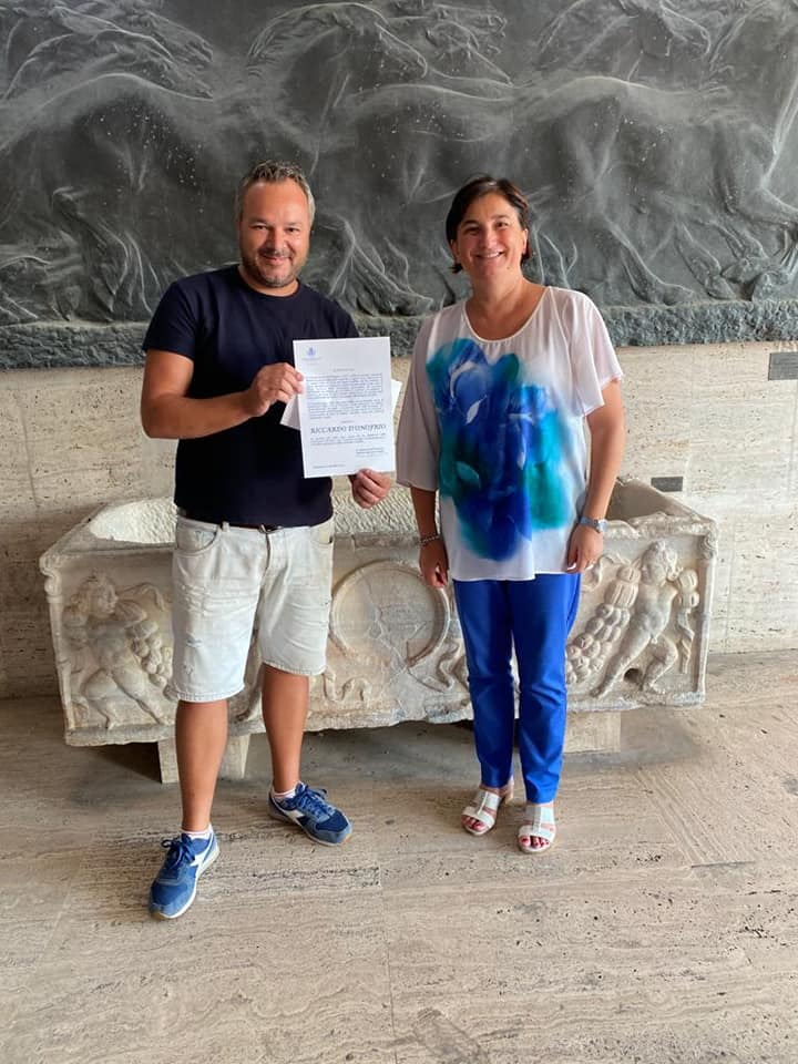 Riccardo D'Onofrio e il neo-Sindaco di Terracina Roberta Ludovica Tintari