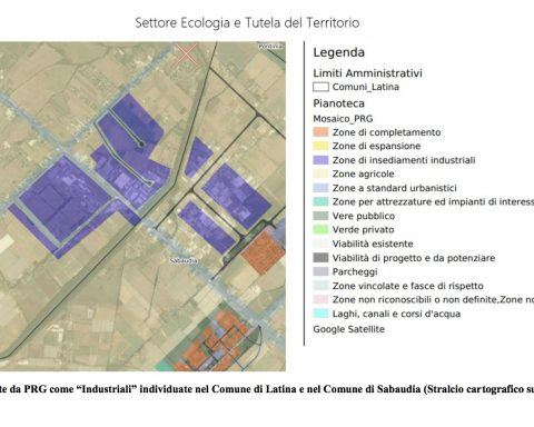 Aree industriali individuate nel Comune di Latina e Sabaudia