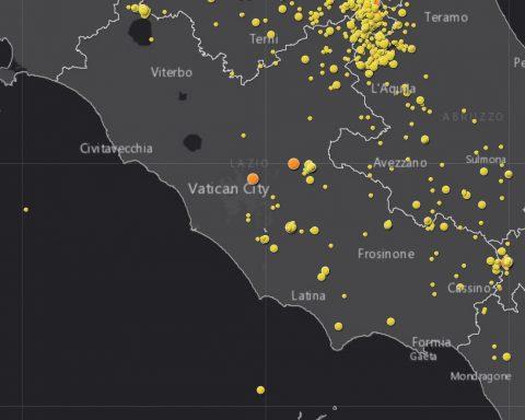 Mappa dei terremoti interattiva nel Lazio