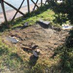 Il punto a Rio Martino su cui per anni è stato lasciato il masso calcareo con l'impronta di dinosauro