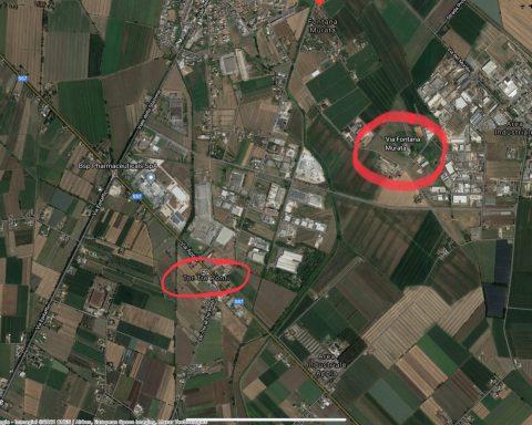 Il cerchio rosso più grande è via Fontana Murata, quello più piccolo è Tor Tre Ponti