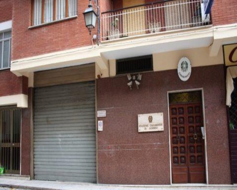 la caserma carabinieri di Sonnino