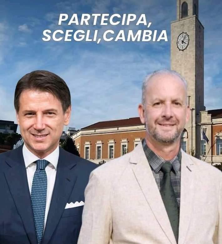 Il logo dell'evento preparato dal M5S di Latina: l'ex premier Giuseppe Conte e il candidato Sindaco di Latina Gianluca Bono