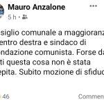 Il post del neo-eletto consigliere comunale di Forza Italia Mauro Anzalone